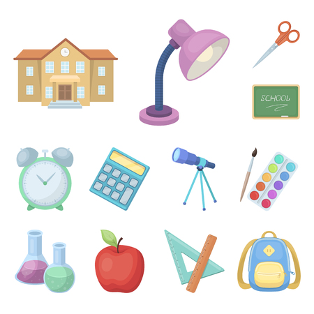 School and education cartoon icons in set collection for design.College, equipment and accessories vector symbol stock  illustration. Illustration