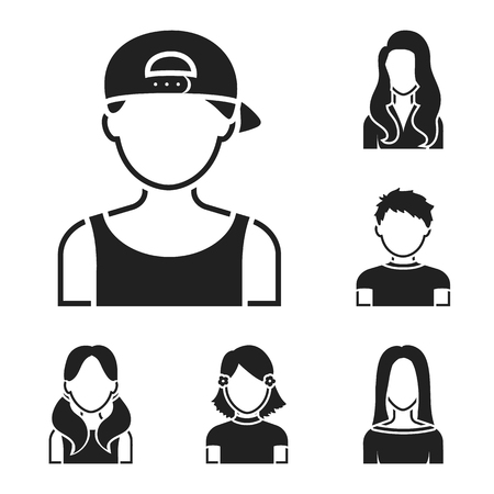 Avatar and face black icons in set collection for design. A person appearance vector symbol stock illustration.