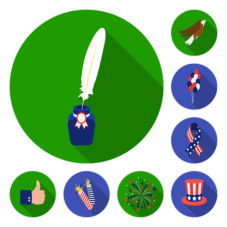Day of Patriot, holiday flat icons in set collection for design. American tradition vector symbol stock  illustration.