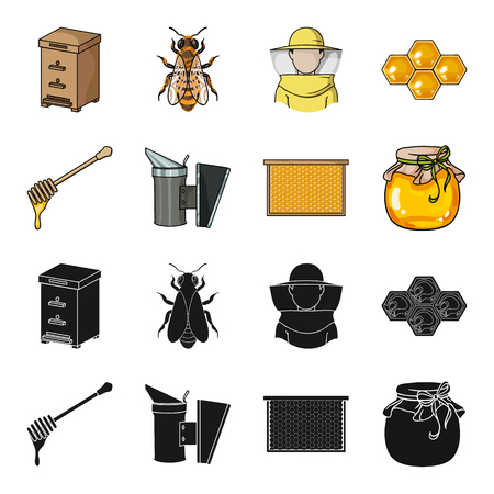 A frame with honeycombs, a ladle of honey, a fumigator from bees, a jar of honey.Apiary set collection icons in black,cartoon style vector symbol stock illustration .
