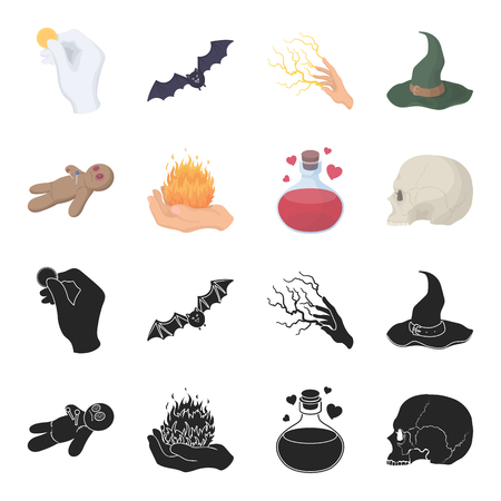 A voodoo doll, a magical fire, a love potion, a skull.Black and white magic set collection icons in black,cartoon style vector symbol stock illustration web.