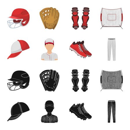 Baseball cap, player and other accessories. Baseball set collection icons in black,cartoon style vector symbol stock illustration web. Vettoriali