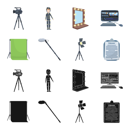 Script, video camera, mirror and other equipment. Making movies set collection icons in black, cartoon style vector symbol stock illustration web.