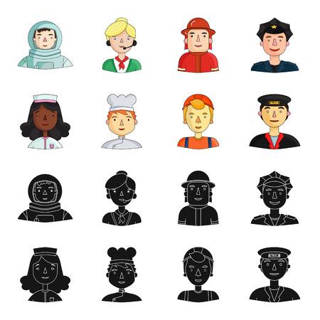 Enfermera, cocinera, constructora, taxista. Personas de diferentes profesiones establecen los iconos de la colección en la web de dibujos animados estilo vector símbolo stock de ilustración.