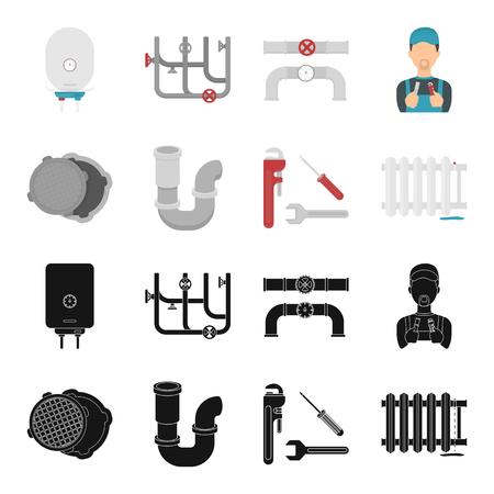 Sewage hatch, tool, radiator. Plumbing set collection icons in black, cartoon style vector symbol stock illustration web. Ilustração