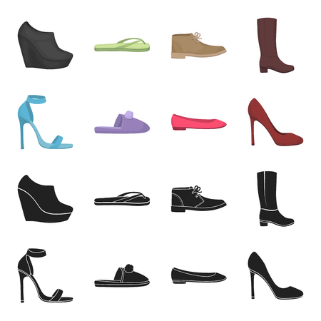 Blue high-heeled sandals, homemade lilac slippers with a pampon, pink women ballet flats, brown high-heeled shoes. Shoes set collection icons in black,cartoon style vector symbol stock illustration web. Illustration