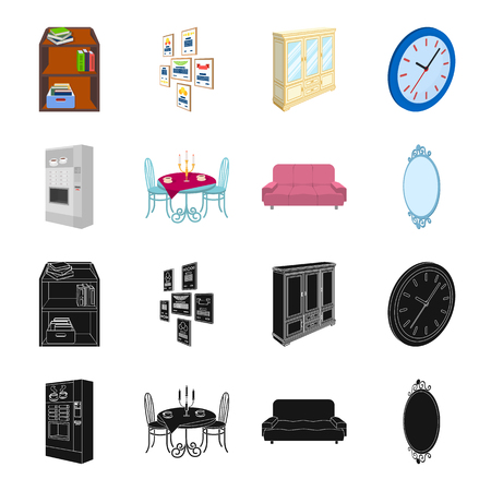 Coffee maker, served table in the restaurant and other web icon in black,cartoon style isometric.Soft comfortable sofa, wall mirror icons in set collection. Stock Illustratie