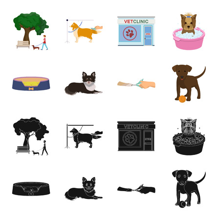 Lounger for a pet, clipping of claws in a vet clinic, lying dog, puppy with a ball. Vet clinic and pet,dog care set collection icons in black,cartoon style vector symbol stock illustration web.