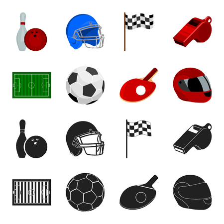 Field, stadium with markings for playing football, football ball, racket with a ball for ping-pong, protective helmet for the game,glove for baseball or rugby. Sport set collection icons in black,cartoon style vector symbol stock illustration web.