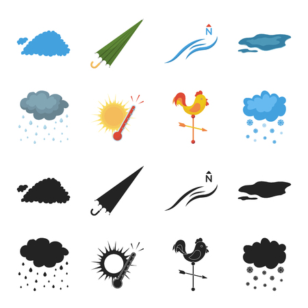 Rain, snow, heat, weathervane. The weather set collection icons in black,cartoon style vector symbol stock illustration web. Illustration