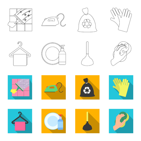 Cleaning and maid outline,flat icons in set collection for design. Equipment for cleaning vector symbol stock web illustration. Vector Illustration