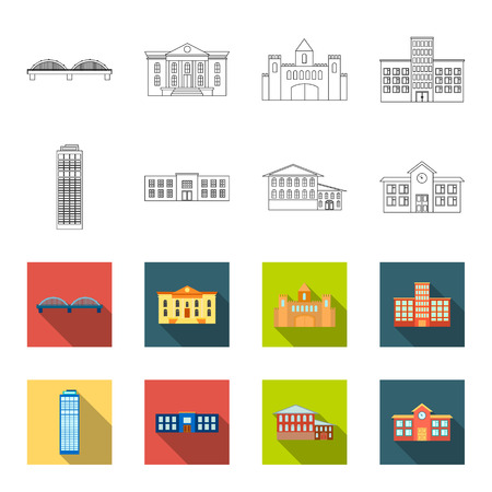 Skyscraper, police, hotel, school.Building set collection icons in outline,flet style vector symbol stock illustration web. Standard-Bild - 100257558