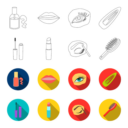 Mascara, hairbrush, lipstick, eyebrow pencil, Makeup set collection icons in outline, flat style vector symbol stock illustration web. Stock fotó - 100257564