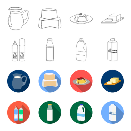 Milk, Calcium, Product, Food .Milk product and sweet set collection icons in outline,flat style vector symbol stock illustration . 일러스트