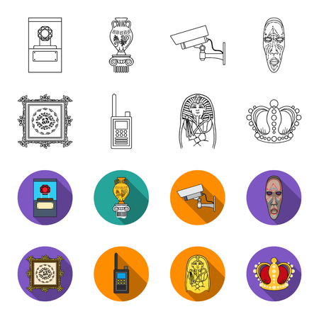 Picture, sarcophagus of the pharaoh, walkie-talkie, crown. Museum set collection icons in outline, flat style vector symbol stock illustration web.