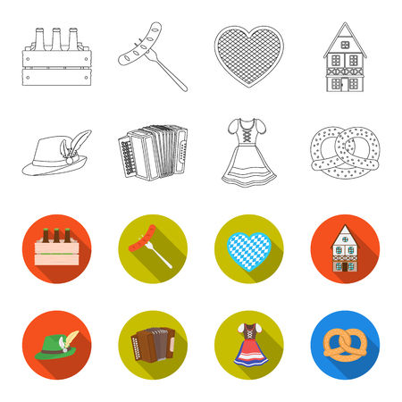 Tyrolean hat, accordion, dress, pretzel. Oktoberfest set collection icons in outline, flat style vector symbol stock illustration web. Illustration
