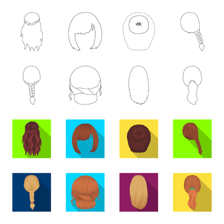 Light braid, fish tail and other types of hairstyles. Back hairstyle set collection icons in outline, flat style vector symbol stock illustration web. Illustration