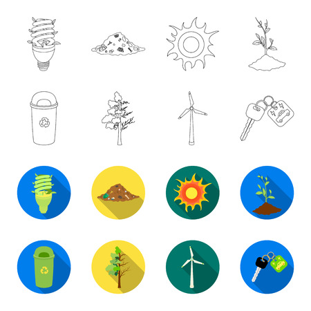 A garbage can, a diseased tree, a wind turbine, a key to a bio car. Bio and ecology set collection icons in outline, flat style vector symbol stock illustration web.