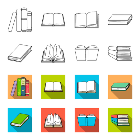 Various kinds of books. Books set collection icons in outline, flat style vector symbol stock illustration web. 矢量图像