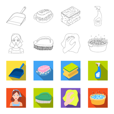 A cleaning woman, a housewife in an apron, a green brush, a hand with a rag, a blue wash hand basin with foam. Cleaning set collection icons in outline, flat style vector symbol stock illustration web.