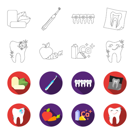 A tooth with brilliant sparkling, an apple with carrots useful for teeth, milk in a box, cheese and a sign of calcium, a smiling tooth. Dental care set collection icons in outline, flat style vector symbol stock illustration web.
