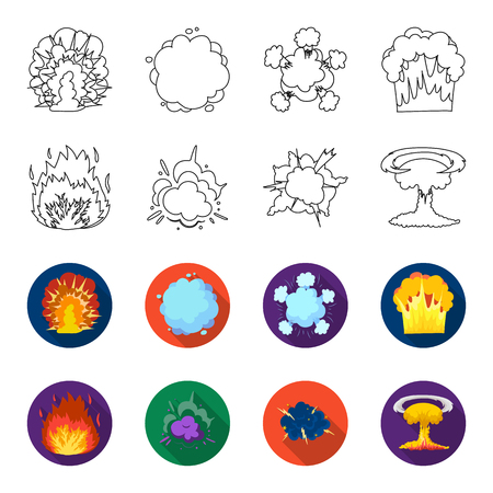 Flame, sparks, hydrogen fragments, atomic or gas explosion. Explosions set collection icons in outline, flat style vector symbol stock illustration .