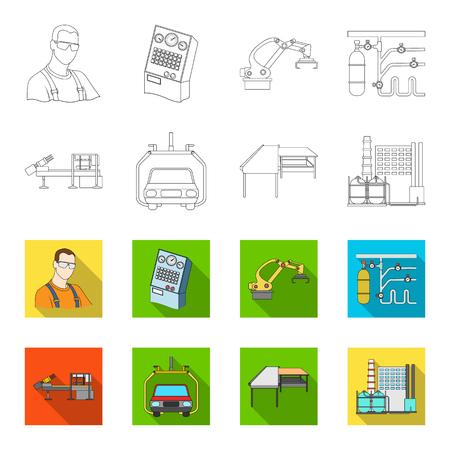 Industria automotriz y otro icono en contorno, estilo plano. Iconos de nuevas tecnologías en conjunto.