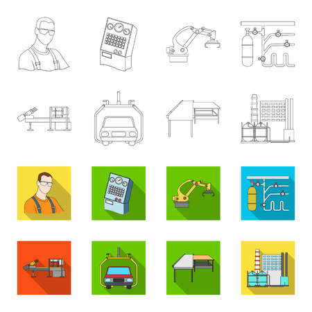 Automotive industry and other icon in outline, flat style. New technologies icons in set collection.