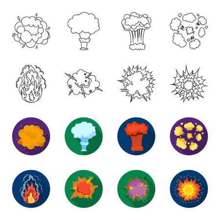 Flame, sparks, hydrogen fragments, atomic or gas explosion, thunderstorm, solar explosion. Explosions set collection icons in outline, flat style vector symbol stock illustration.