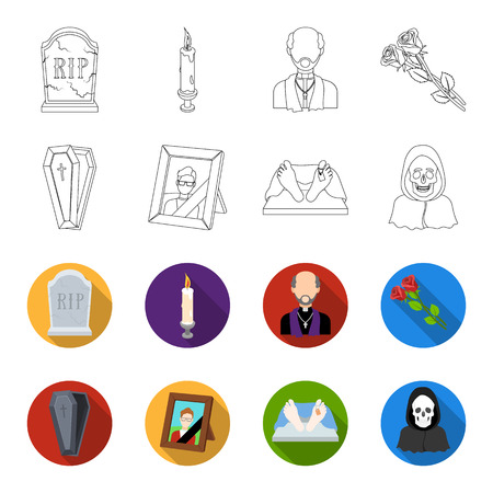 Coffin with a lid and a cross, a photograph of the deceased with a mourning ribbon, a corpse on the table with a tag in the morgue, death in a hood. Funeral ceremony set collection icons in outline, flat style vector symbol stock illustration.