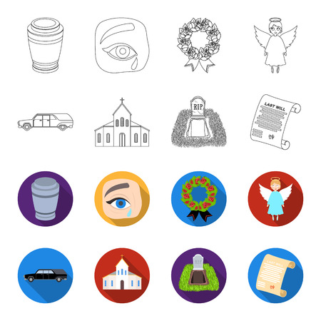 Black car to transport the grave of the deceased, a church for a funeral ceremony, a grave with a tombstone, a death certificate. Funeral ceremony set collection icons in outline, flat style vector symbol stock illustration. Illustration