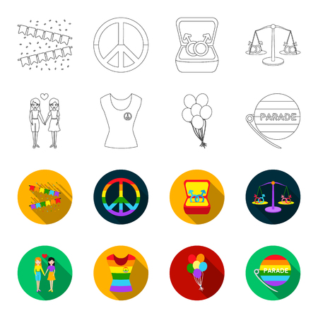 Lesbians, dress, balls, gay parade. Gay set collection icons in outline, flat style vector symbol stock illustration.