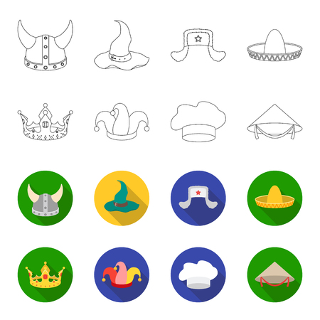 Crown, jester cap, cook, cone. Hats set collection icons in outline, flat style vector symbol stock illustration.