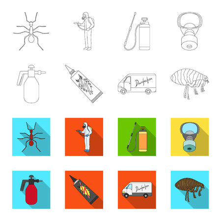 Flea, special car and equipment outline, flat icons in set collection for design. Pest control service vector symbol stock illustration. Illustration