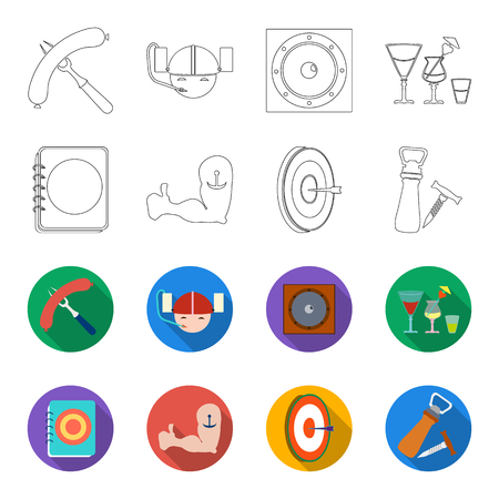 Menu, armor with tattoo, darts, corkscrew and opener. Pub set collection icons in outline, flat style vector symbol stock illustration.