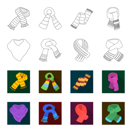 Various kinds of scarves, scarves and shawls. Scarves and shawls set collection icons in outline, flat style vector symbol stock illustration. Stock Illustratie