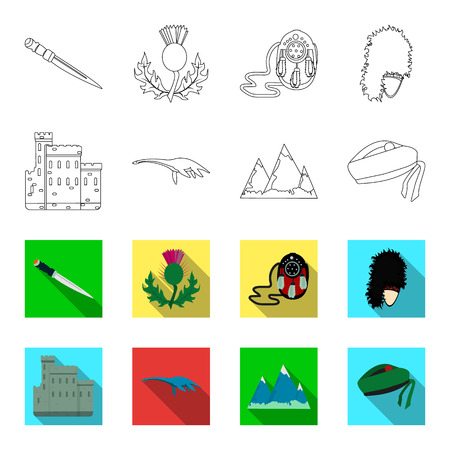 Edinburgh castle, loch ness monster, grampian mountains, national cap balmoral, tam shanter. Scotland set collection icons in outline, flat style vector symbol stock illustration.