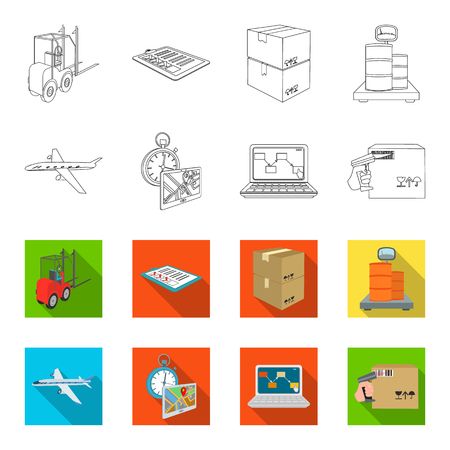 Transport aircraft, delivery on time, computer accounting, control and accounting of goods. Logistics and delivery set collection icons in outline,flat style isometric vector symbol stock illustration .