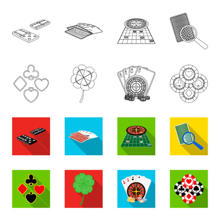 Excitement, casino, game and other icon in outline, flat style. Cheating, entertainment, recreation, icons in set collection.
