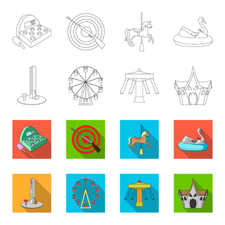 The device with a bat for measuring strength, a ferris wheel, a carousel, a house with windows. Amusement park set collection icons in outline, flat style vector symbol stock illustration. Stock Illustratie