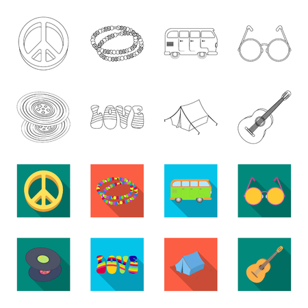 Vinyl discs, guitar, tent. Hippy set collection icons in outline, flat style vector symbol stock illustration. Illustration