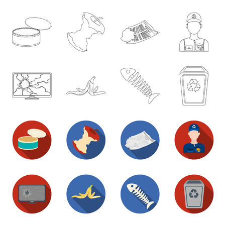 Broken TV monitor, banana peel, fish skeleton, garbage bin. Garbage and trash set collection icons in outline, flat style vector symbol stock illustration.