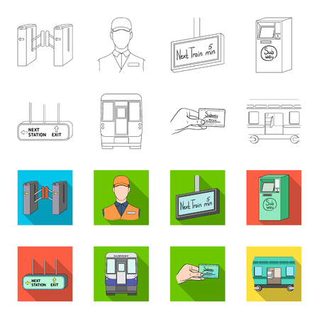 Transport, public, train and other icon in outline, flat style. Equipment, attributes, mechanism icons in set collection.