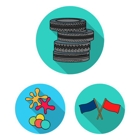 Paintball, team game flat icons in set collection for design. Equipment and outfit vector symbol stock  illustration.