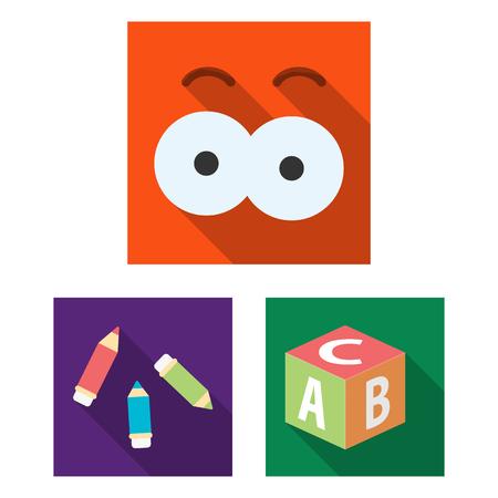 Children toy flat icons in set collection for design. Game and bauble vector symbol stock web illustration. Ilustração