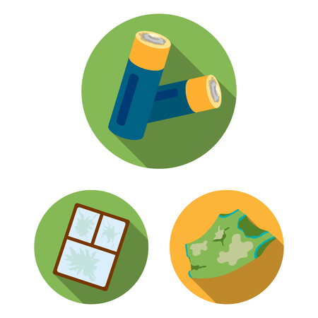Garbage and waste flat icons in set collection for design. 스톡 콘텐츠 - 100371293