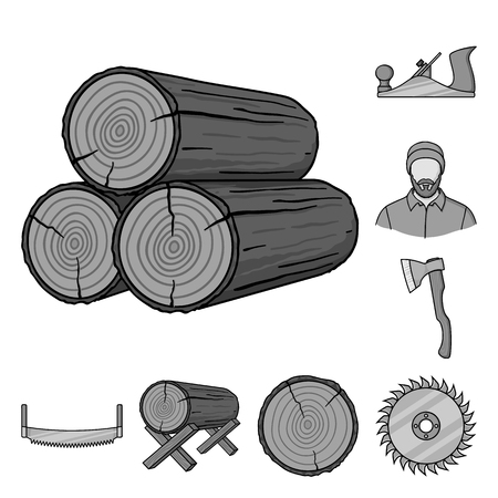 Sawmill and Timber monochrome icons in set collection for design. Hardware and Tools vector symbol stock web illustration. Illustration