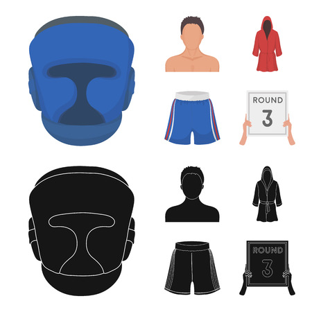 Boxing, sport, mask, helmet .Boxing set collection icons in cartoon,black style vector symbol stock illustration .