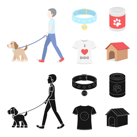 A man walks with a dog, a collar with a medal, food, a T-shirt I love dog.Dog set collection icons in cartoon,black style vector symbol stock illustration .