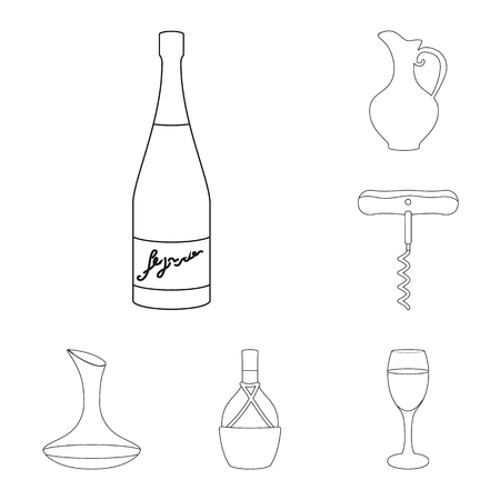 Wine products outline icons in set collection for design. Equipment and production of wine vector symbol stock  illustration.